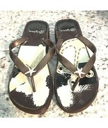 BRIGHTON Women's Flip Flop low Wedge Heel Nautical Starfish Sassy brown ... - $29.65