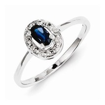 STERLING SILVER 1/3 CT NATURAL BLUE SAPPHIRE & DIAMOND HALO RING - SIZE 6 - $71.45