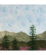 Tranquility 6 x 6 Acrylic Painting, Landscape, Trees, Mountains, Wildflo... - $35.00