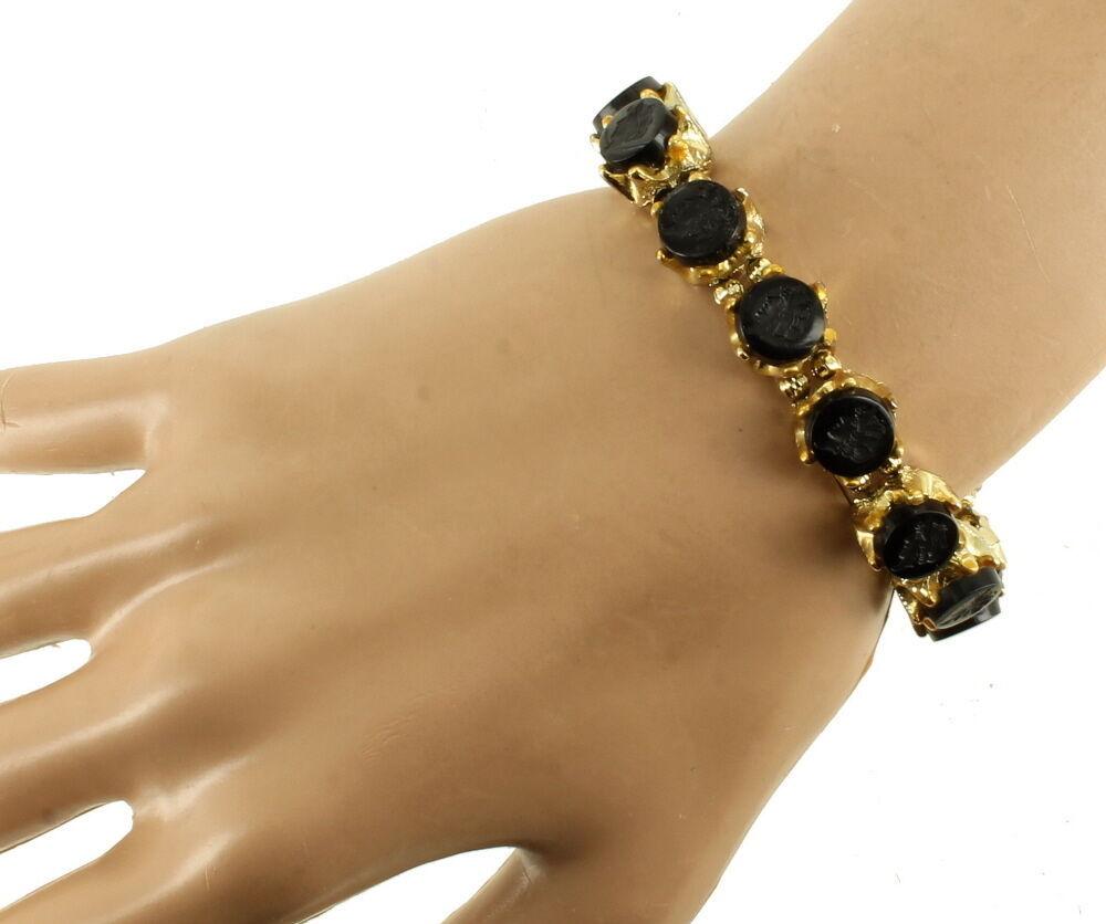 """Vintage Designer Jet Black Glass Intaglio Lady Profile Cabs Bracelet 7""""Gold Tone image 3"""