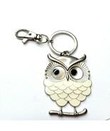 G47 silver owl keychain beige enamel - $21.29