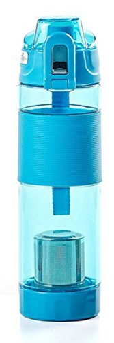 Tritan Bottle Tumbler with Tea Filter 650ml, Dual Safety Lock System,One-touch O