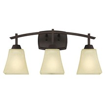 Three-Light Indoor Wall Fixture, Oil Rubbed Bronze Finish with Amber Lin... - $67.32