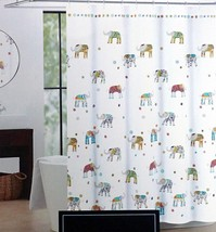 Cynthia Rowley Multicolored Elephant Fabric Shower Curtain 72x72 inches - $38.61
