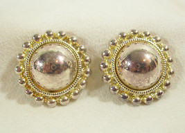 PREMIER SILVER GOLD PLATE DOME BEADED FRAME CLIP EARRING ELEGANT CLASSIC... - $15.83