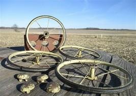 4 Vintage Metal Baby Buggy Wheels Pedal Car Garden Cart Pumpkin Wagon a38 - $99.00