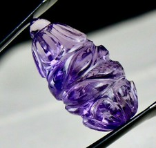 NATURAL AMETHYST CARVED 25 X 15 MM TEAR DROPS 21.83 CTS GEMSTONE HANGING... - $94.05