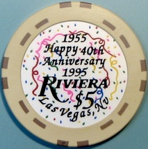 $5 Casino Chip. Riviera, Las Vegas, NV. 40th Anniversary. W01. - $6.50