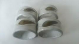 "Set of 4 Ceramic Stoneware Green Leaf Napkin Rings 2"" Diameter 1 1/4"" Wide - $12.86"