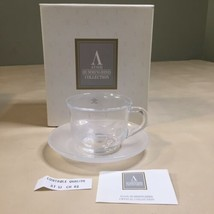 Avon Hummingbird 24% Crystal Cup and Frosted Saucer - Vintage - $18.80