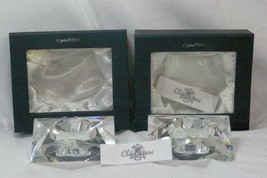 Oleg Cassini Clear Crystal Set Of 2 Star Shaped Votives In Box - $31.18