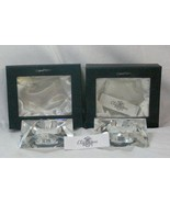 Oleg Cassini Clear Crystal Set Of 2 Star Shaped Votives In Box - $28.34