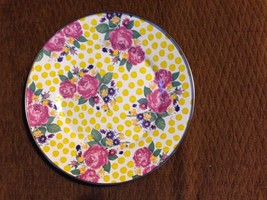 Mackenzie Child Buttercup DInner Plate Pink Rose Yellow Enamelware 4 ava... - $123.75