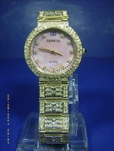 Geneva Crystal Bling High Fashion Women's WRISTWATCH--MOTHER Of Pearl Dial ! - $24.26