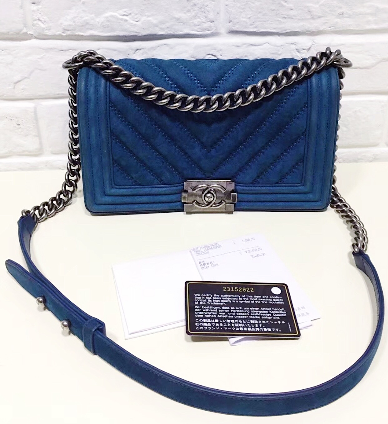 912f3b022837 SALE* AUTHENTIC CHANEL BLUE CHEVRON QUILTED SUEDE MEDIUM BOY FLAP ...