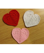 Heart Shaped Coasters, Hand Crocheted in Cotton - $6.00