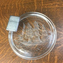 Vintage Large Heavy Clear Glass Etched Ship Ashtray Barware w/ Zippo Lighter - $28.04