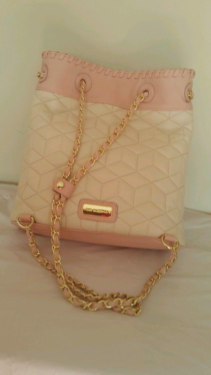 NWT Big Buddha woman's purse handbag backpack style. Gold chain cream pink blush image 5