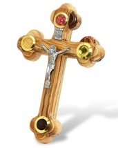 Wall Cross of Olive Wood with Crucifix Catholic from Jerusalem 5.5 inch - $13.99