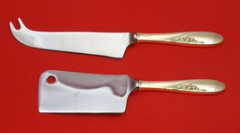 Rose Spray By Easterling Sterling Silver Cheese Servr Serving Set 2P Hhws Custom - $110.30