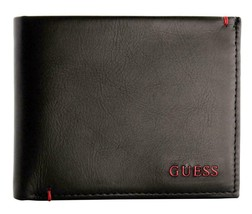 Guess Men's Premium Leather Double Billfold Credit Card Wallet Black 31GU13X030 image 1