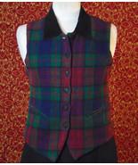 ERIKA CLASSICS VINTAGE wool blend green plaid vest S (T40-01A8G) - $21.76