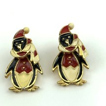 Vtg Articulated AIM Signed Penguin Christmas Holiday Post Pierced Earrings - $11.26