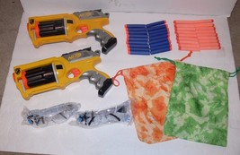 Nerf War Supplies - 2 NERF REV-6 N-STRIKE, Goggles, Bullets & Ammo Bag n... - $19.99