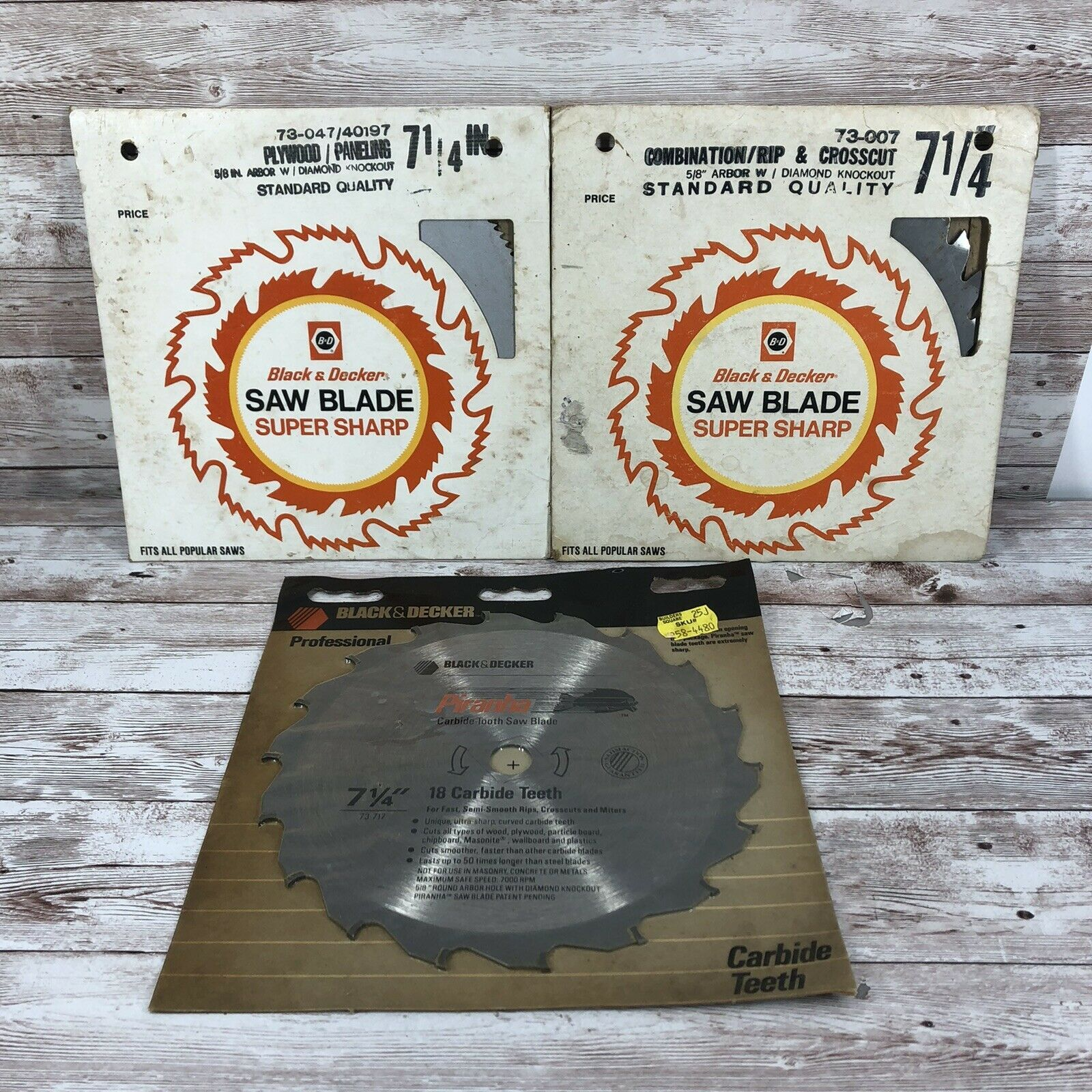 "Primary image for Lot Of 3 Vintage BLACK & DECKER 7 1/4"" Fast Cutting Circular Saw Blade/Wood"