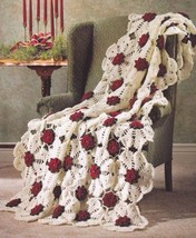 Y336 Crochet PATTERN ONLY Snowflake Rose Afghan Pattern Christmas Valentine - $8.50