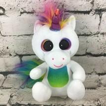 "Six Flags 10"" White Rainbow Unicorn Plush Sitting Stuffed Animal Carniva... - $11.88"