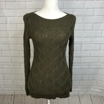 Loft Cable Knit Sweater Olive Green Boat Neck Wool Rabbit Hair Womens Si... - $22.72
