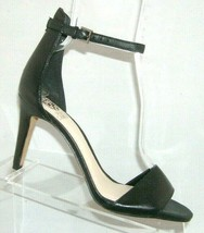 Vince Camuto Court black leather open toe ankle buckle strap heels 8M - $35.17