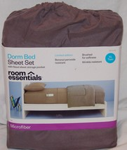 Room Essentials NIP Dorm Bed Sheet Set Microfiber XL Twin Earth Gray - $11.36