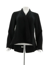 H Halston Long Slv Open Front Jacket Seam Black 2 NEW A303200 - $38.59