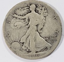1916D Walking Liberty Half Dollar 90% Silver Coin Lot# MZ 4853