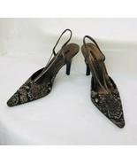 Nine West Pumps Womens 8M Snake Animal Print High Heels Pointed Sling back - $13.71