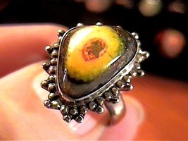ECLIPSE AGATE  STERLING SILVER 925 RING 7 NATURAL COMPLEX OLD BOLD ELEGANT - £20.77 GBP