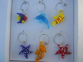 Blown Glass Fish Drink Wine Charms Markers - $15.83