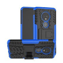 Tire Texture TPU+PC Shockproof Case for Motorola G7, with Holder (Blue) - $4.77