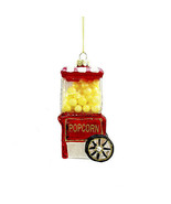 Darice Christmas Glass Ornament: Popcorn Cart, 2 x 4.25 inches w - $11.99