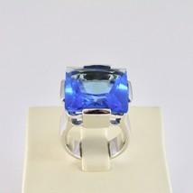 Ring Bandring Silber 925 Rhodiniert mit Blau Kristall Quadrat Facettiert image 2