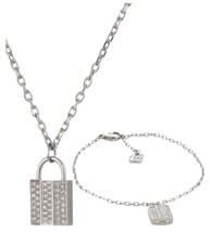 Swarovski Women's Crystal Stainless Steel Pendant Necklace Bracelet Set ... - $61.78