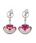 Disney Cheshire Cat Pewter Metal Keychain Reversible Alice in Wonderland Keyring - $9.74
