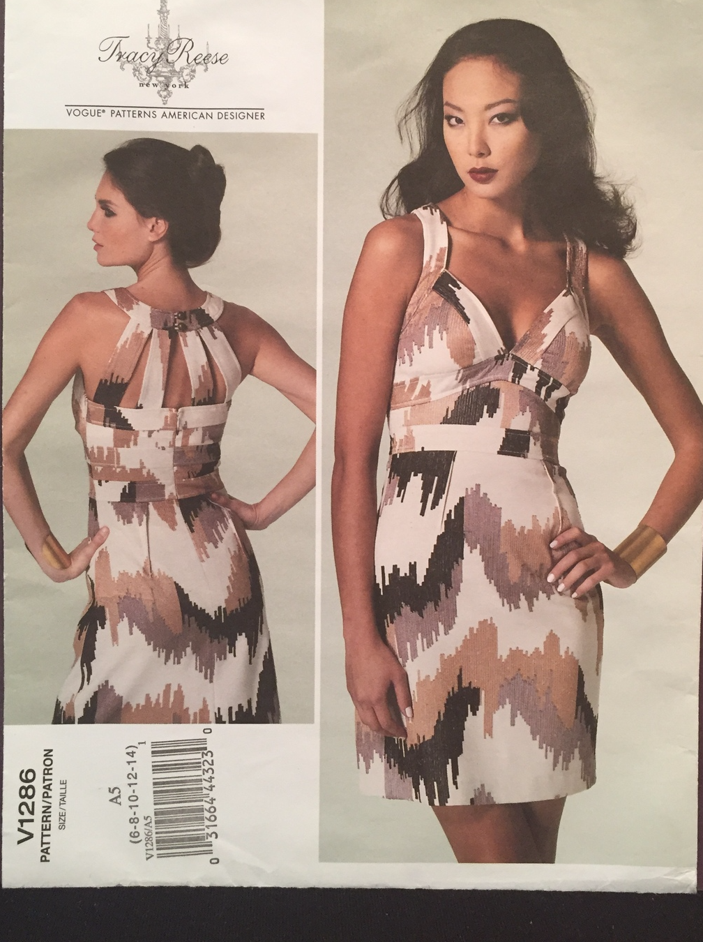 Vogue American Designer Tracy Reese Fitted Bra Top Dress Size 6-14 Pattern V1286