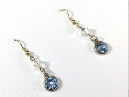 SWAROVSKI Blue Crystal Earrings 10K Gold Plate Dangle Drop Earrings Wome... - $19.95