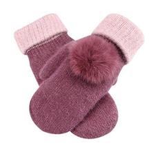 Warm Fingerless Gloves Woollen Gloves Fashionable Mitten for Women, Light Purple