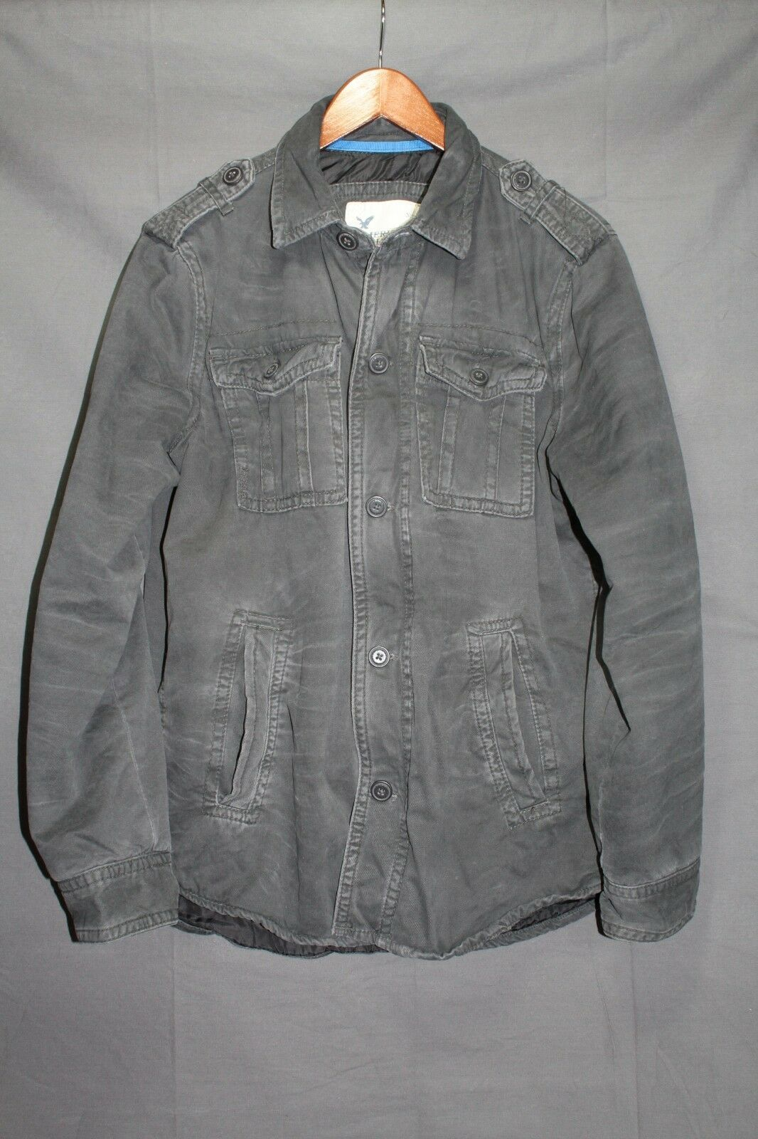NEW Men's AE Military Field Coat Lined Shirt Jacket Twill Grey M - $99.95