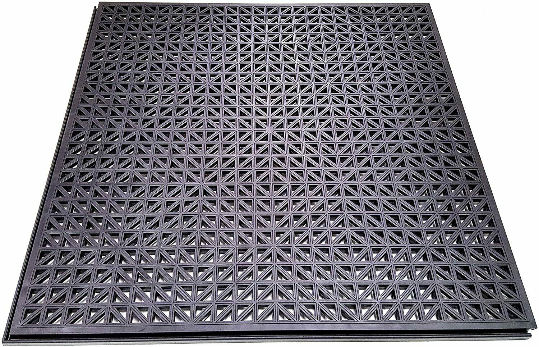 NEW Black PlastiPro-Loc Heavy Duty Perforated Garage Flooring Tiles Pack of 18