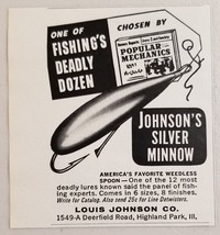 1963 Print Ad Johnson's Silver Minnow Spoon Fishing Lures Highland Park,IL - $6.50
